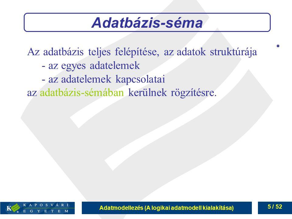 Adatmodellezés (A logikai adatmodell kialakítása) 5 / 52 Adatbázis-séma Az adatbázis teljes felépítése, az adatok struktúrája - az egyes adatelemek -
