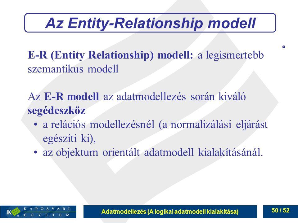 Adatmodellezés (A logikai adatmodell kialakítása) 50 / 52 E-R (Entity Relationship) modell: a legismertebb szemantikus modell Az E-R modell az adatmod