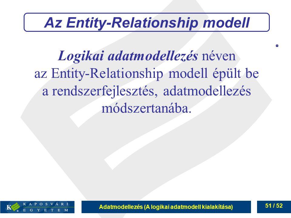 Adatmodellezés (A logikai adatmodell kialakítása) 51 / 52 Logikai adatmodellezés néven az Entity-Relationship modell épült be a rendszerfejlesztés, ad