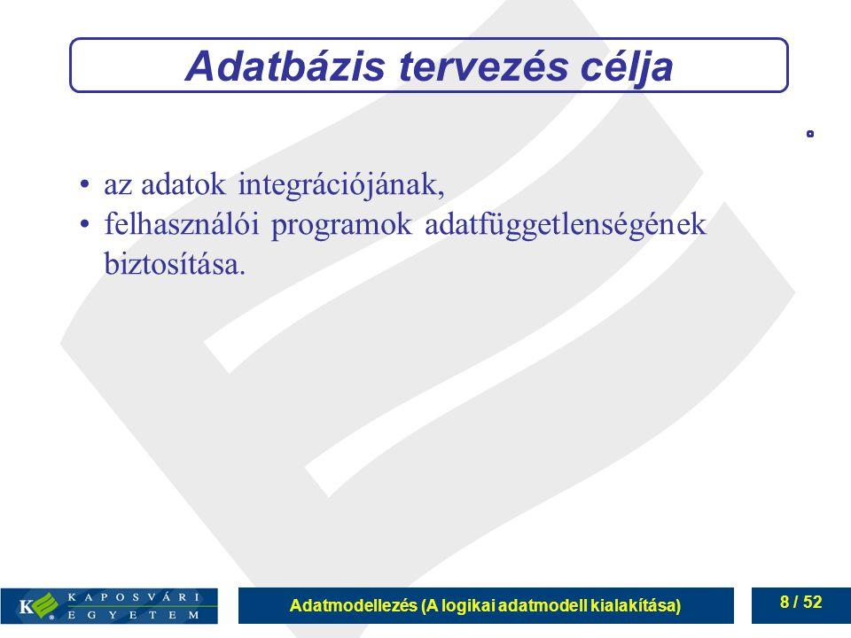 Adatmodellezés (A logikai adatmodell kialakítása) 8 / 52 Adatbázis tervezés célja az adatok integrációjának, felhasználói programok adatfüggetlenségén
