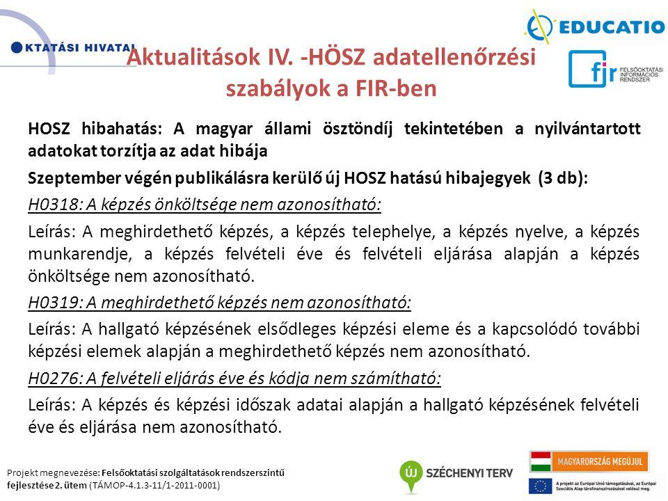 Projekt megnevezése: Felsőoktatási szolgáltatások rendszerszintű fejlesztése 2. ütem (TÁMOP-4.1.3-11/1-2011-0001) Aktualitások IV. -HÖSZ adatellenőrzé