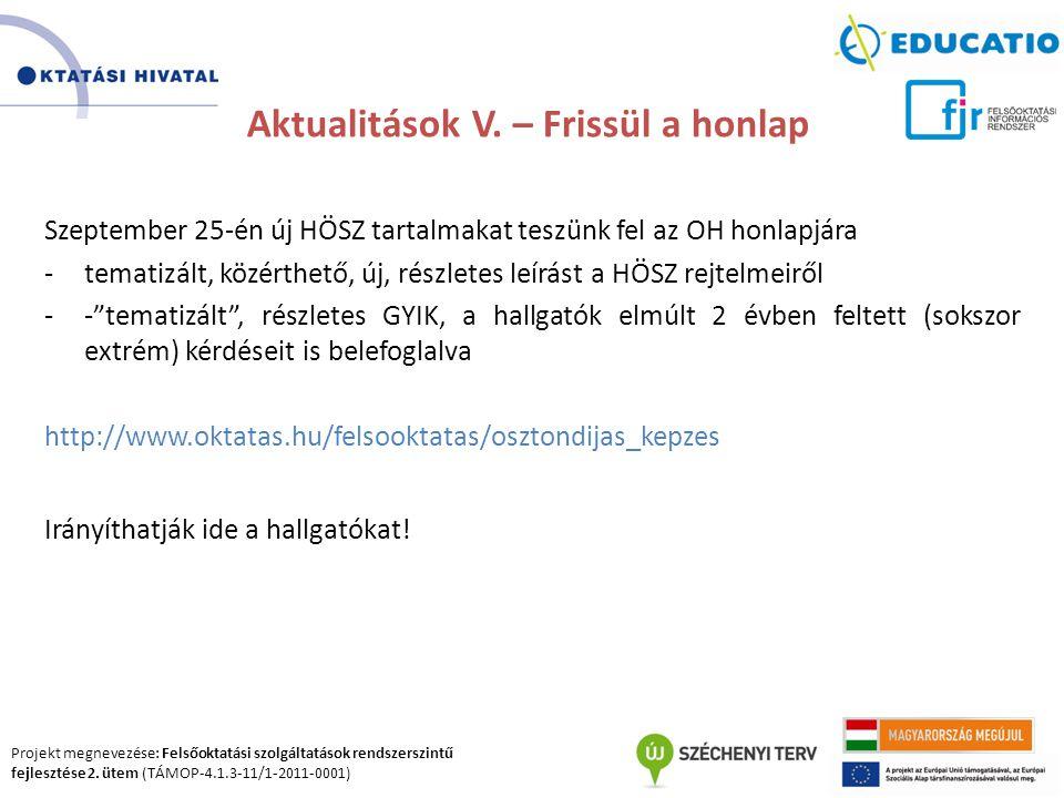 Projekt megnevezése: Felsőoktatási szolgáltatások rendszerszintű fejlesztése 2. ütem (TÁMOP-4.1.3-11/1-2011-0001) Aktualitások V. – Frissül a honlap S