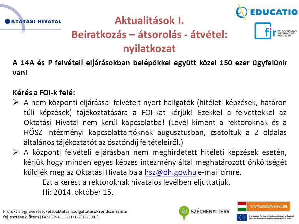 Projekt megnevezése: Felsőoktatási szolgáltatások rendszerszintű fejlesztése 2. ütem (TÁMOP-4.1.3-11/1-2011-0001) Aktualitások I. Beiratkozás – átsoro