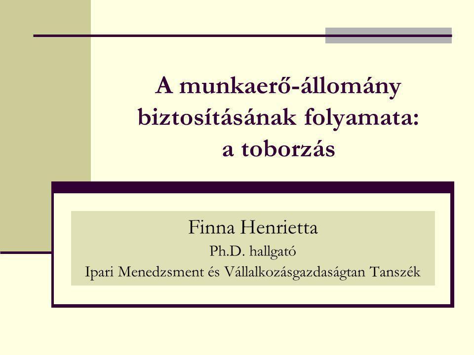 A munkaerő-állomány biztosításának folyamata: a toborzás Finna Henrietta Ph.D. hallgató Ipari Menedzsment és Vállalkozásgazdaságtan Tanszék