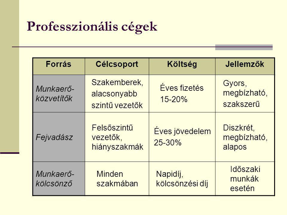 Professzionális cégek ForrásCélcsoportKöltségJellemzők Munkaerő- közvetítők Szakemberek, alacsonyabb szintű vezetők Éves fizetés 15-20% Gyors, megbízh