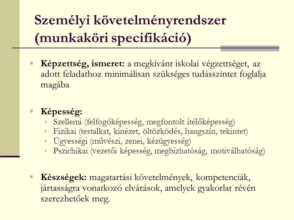 Személyi követelményrendszer (munkaköri specifikáció)  Képzettség, ismeret: a megkívánt iskolai végzettséget, az adott feladathoz minimálisan szükség