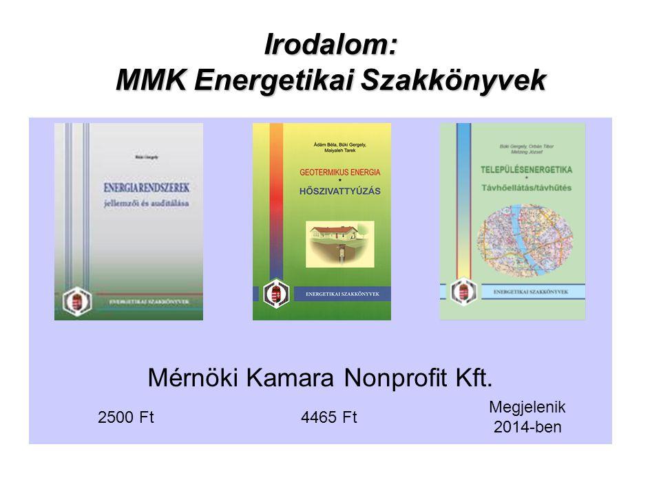 Irodalom: MMK Energetikai Szakkönyvek Mérnöki Kamara Nonprofit Kft.