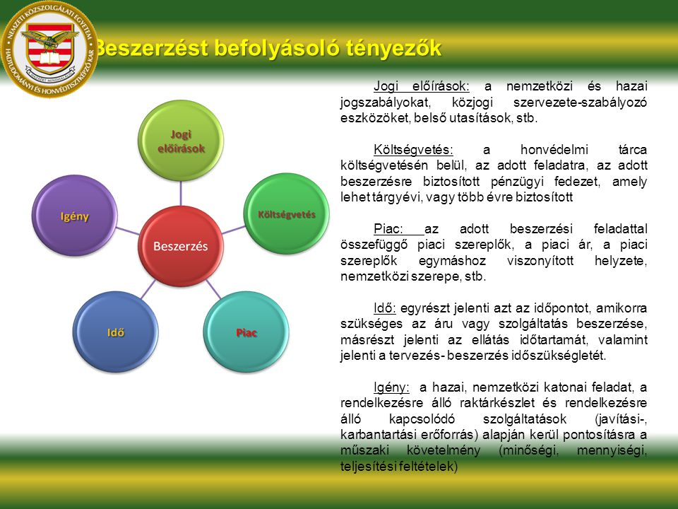 Beszerzést befolyásoló tényezők Jogi előírások: a nemzetközi és hazai jogszabályokat, közjogi szervezete-szabályozó eszközöket, belső utasítások, stb.