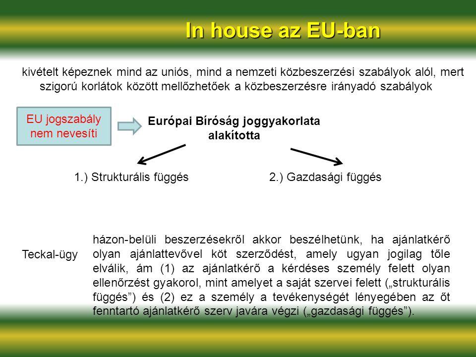 In house az EU-ban kivételt képeznek mind az uniós, mind a nemzeti közbeszerzési szabályok alól, mert szigorú korlátok között mellőzhetőek a közbeszer