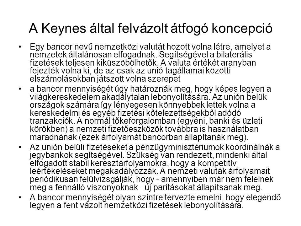 A Keynes által felvázolt átfogó koncepció Egy bancor nevű nemzetközi valutát hozott volna létre, amelyet a nemzetek általánosan elfogadnak. Segítségév