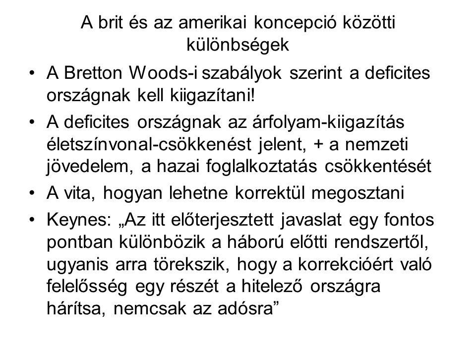A brit és az amerikai koncepció közötti különbségek A Bretton Woods-i szabályok szerint a deficites országnak kell kiigazítani! A deficites országnak