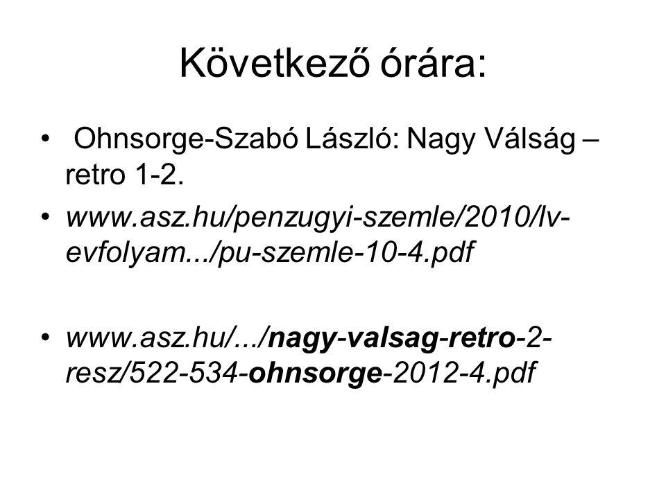 Következő órára: Ohnsorge-Szabó László: Nagy Válság – retro 1-2. www.asz.hu/penzugyi-szemle/2010/lv- evfolyam.../pu-szemle-10-4.pdf www.asz.hu/.../nag