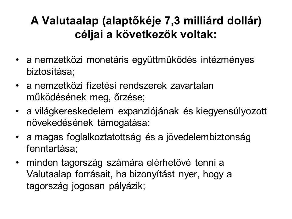 A Valutaalap (alaptőkéje 7,3 milliárd dollár) céljai a következők voltak: a nemzetközi monetáris együttműködés intézményes biztosítása; a nemzetközi