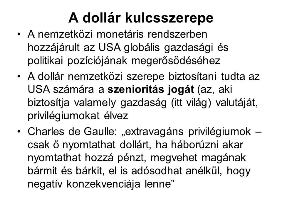 A dollár kulcsszerepe A nemzetközi monetáris rendszerben hozzájárult az USA globális gazdasági és politikai pozíciójának megerősödéséhez A dollár nemz