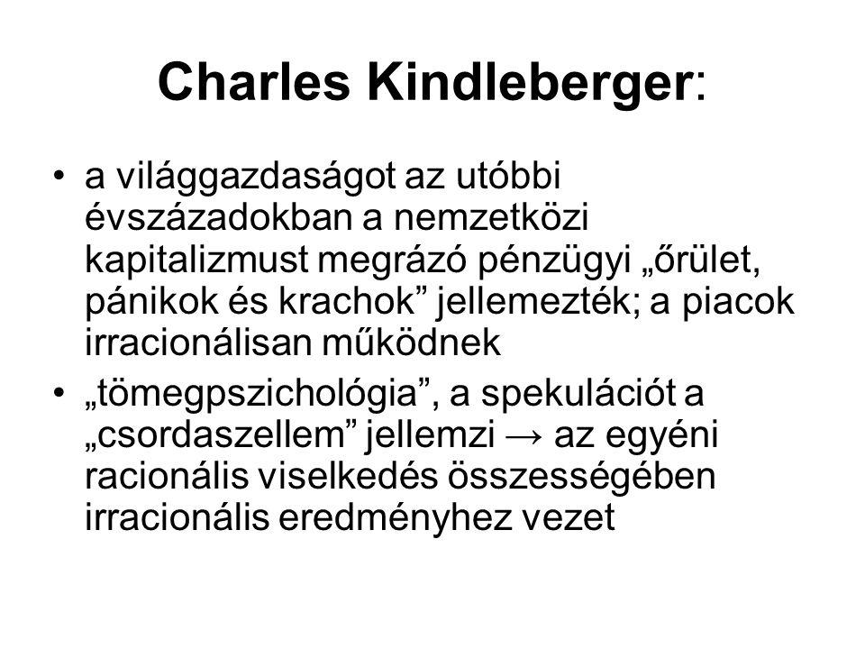 """Charles Kindleberger: a világgazdaságot az utóbbi évszázadokban a nemzetközi kapitalizmust megrázó pénzügyi """"őrület, pánikok és krachok"""" jellemezték;"""