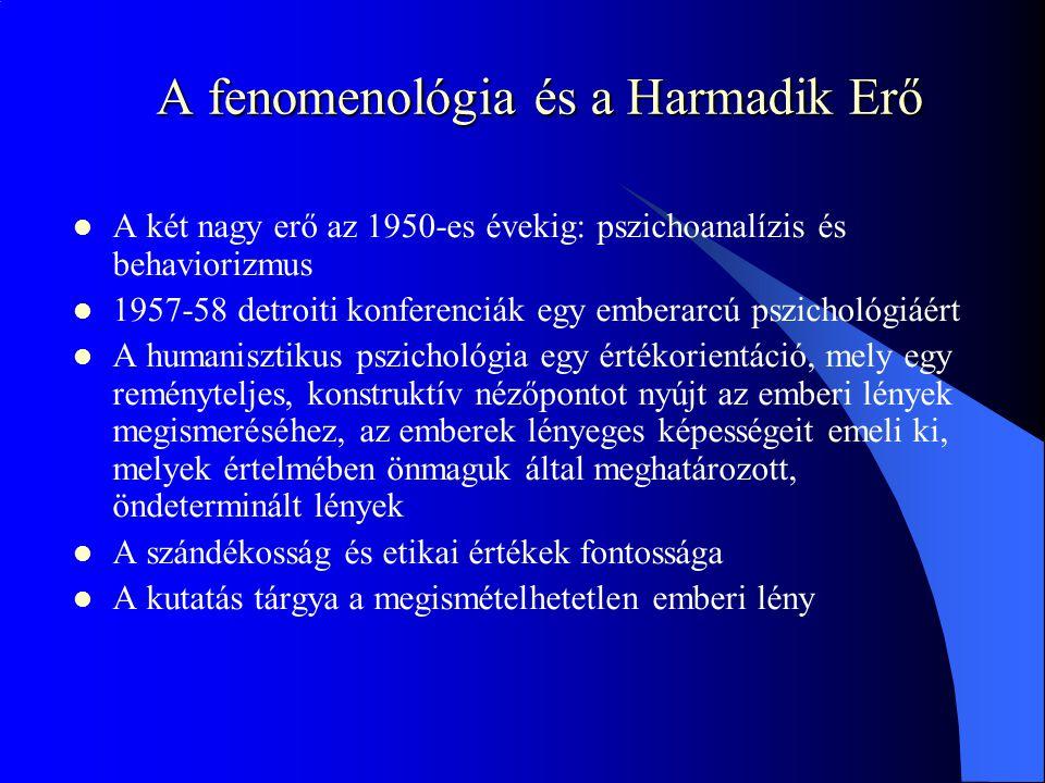 A fenomenológia és a Harmadik Erő A két nagy erő az 1950-es évekig: pszichoanalízis és behaviorizmus 1957-58 detroiti konferenciák egy emberarcú pszic