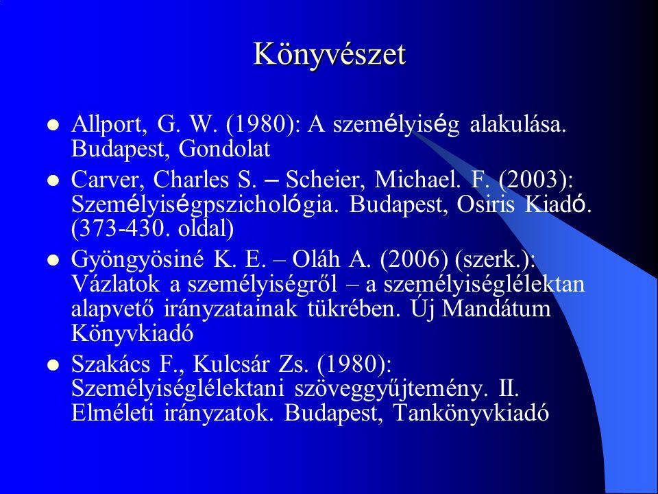 Könyvészet Allport, G. W. (1980): A szem é lyis é g alakulása. Budapest, Gondolat Carver, Charles S. – Scheier, Michael. F. (2003): Szem é lyis é gpsz