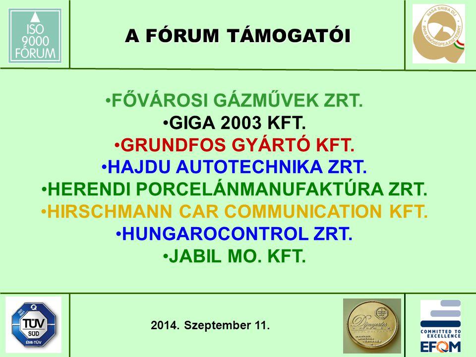 FŐVÁROSI GÁZMŰVEK ZRT. GIGA 2003 KFT. GRUNDFOS GYÁRTÓ KFT.