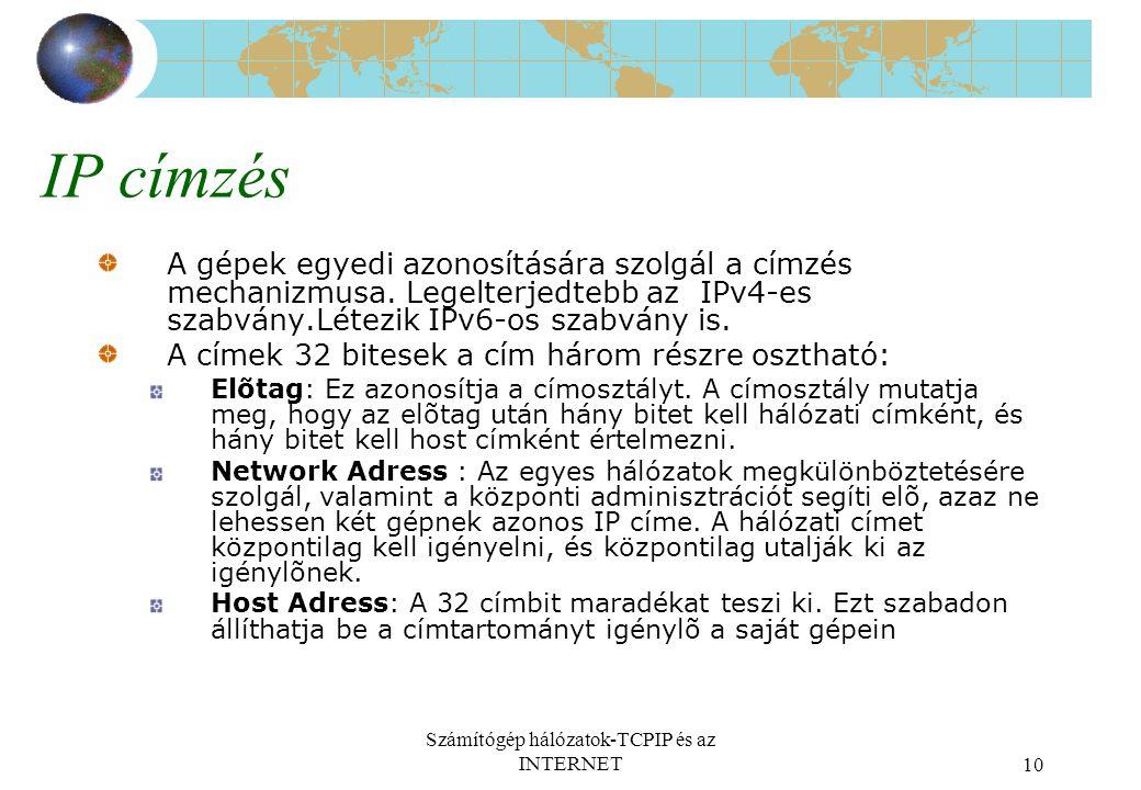 Számítógép hálózatok-TCPIP és az INTERNET10 IP címzés A gépek egyedi azonosítására szolgál a címzés mechanizmusa. Legelterjedtebb az IPv4-es szabvány.
