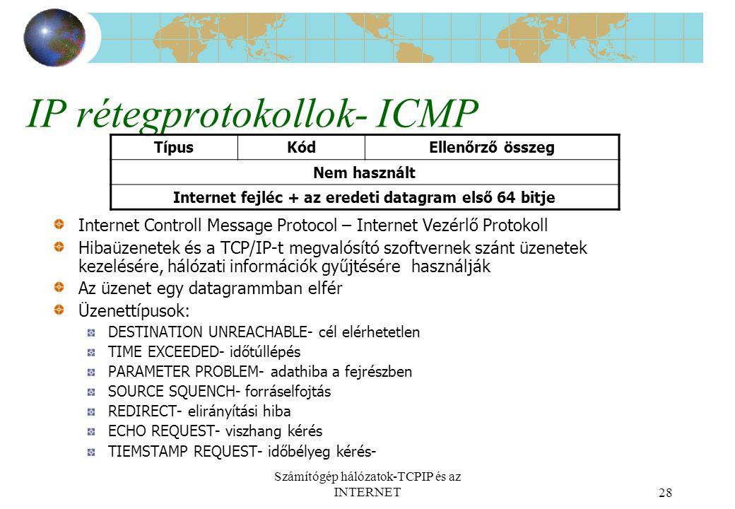 Számítógép hálózatok-TCPIP és az INTERNET28 IP rétegprotokollok- ICMP Internet Controll Message Protocol – Internet Vezérlő Protokoll Hibaüzenetek és a TCP/IP-t megvalósító szoftvernek szánt üzenetek kezelésére, hálózati információk gyűjtésére használják Az üzenet egy datagrammban elfér Üzenettípusok: DESTINATION UNREACHABLE- cél elérhetetlen TIME EXCEEDED- időtúllépés PARAMETER PROBLEM- adathiba a fejrészben SOURCE SQUENCH- forráselfojtás REDIRECT- elirányítási hiba ECHO REQUEST- viszhang kérés TIEMSTAMP REQUEST- időbélyeg kérés- TípusKódEllenőrző összeg Nem használt Internet fejléc + az eredeti datagram első 64 bitje