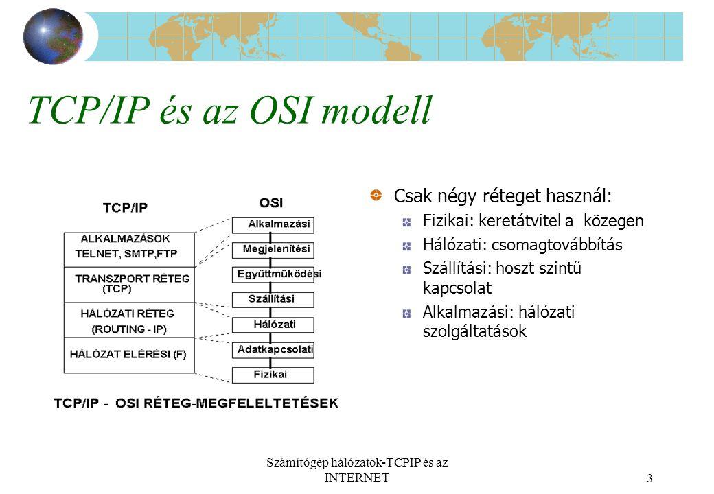 Számítógép hálózatok-TCPIP és az INTERNET3 TCP/IP és az OSI modell Csak négy réteget használ: Fizikai: keretátvitel a közegen Hálózati: csomagtovábbítás Szállítási: hoszt szintű kapcsolat Alkalmazási: hálózati szolgáltatások