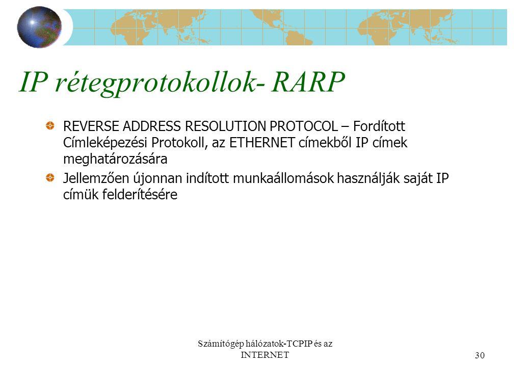 Számítógép hálózatok-TCPIP és az INTERNET30 IP rétegprotokollok- RARP REVERSE ADDRESS RESOLUTION PROTOCOL – Fordított Címleképezési Protokoll, az ETHERNET címekből IP címek meghatározására Jellemzően újonnan indított munkaállomások használják saját IP címük felderítésére