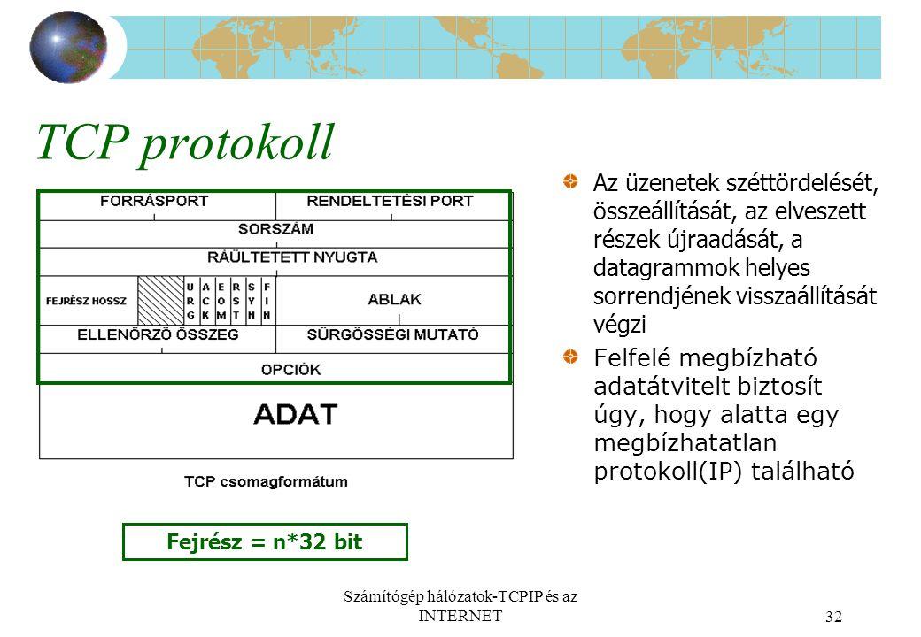 Számítógép hálózatok-TCPIP és az INTERNET32 TCP protokoll Az üzenetek széttördelését, összeállítását, az elveszett részek újraadását, a datagrammok helyes sorrendjének visszaállítását végzi Felfelé megbízható adatátvitelt biztosít úgy, hogy alatta egy megbízhatatlan protokoll(IP) található Fejrész = n*32 bit