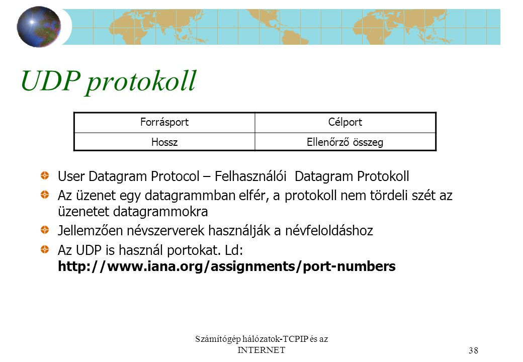 Számítógép hálózatok-TCPIP és az INTERNET38 UDP protokoll User Datagram Protocol – Felhasználói Datagram Protokoll Az üzenet egy datagrammban elfér, a protokoll nem tördeli szét az üzenetet datagrammokra Jellemzően névszerverek használják a névfeloldáshoz Az UDP is használ portokat.