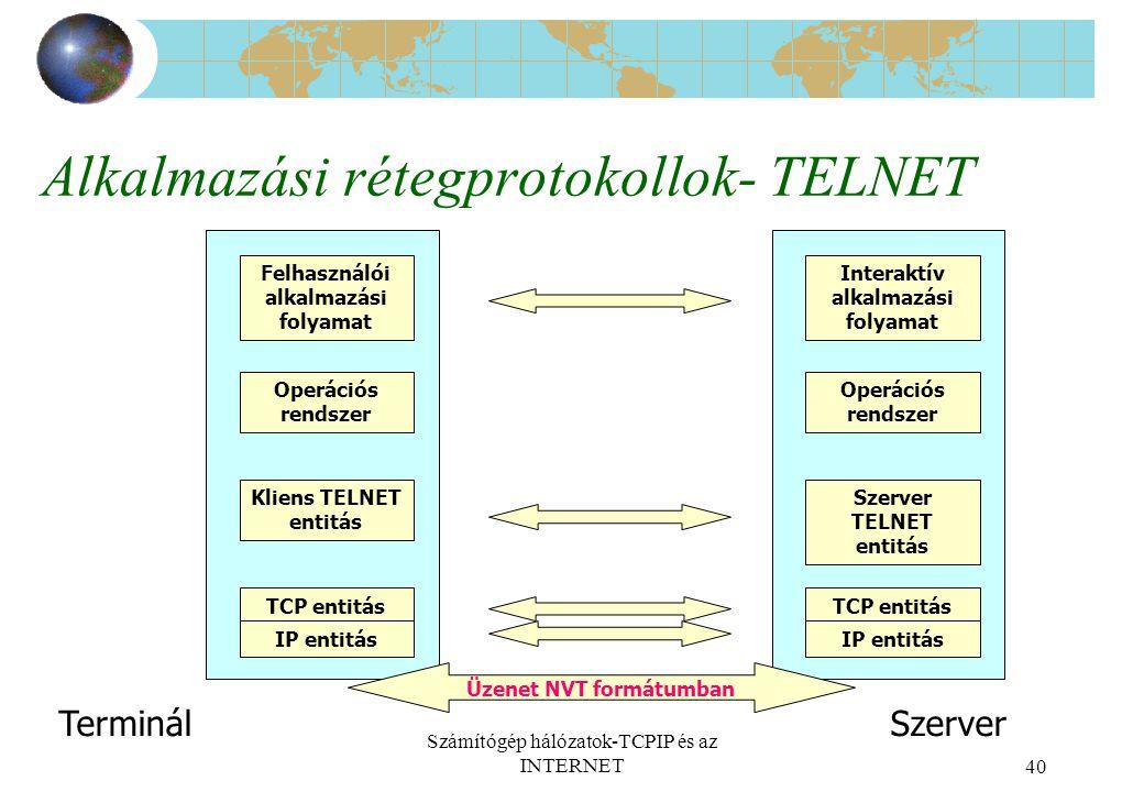 Számítógép hálózatok-TCPIP és az INTERNET40 Alkalmazási rétegprotokollok- TELNET Interaktív alkalmazási folyamat Operációs rendszer Szerver TELNET entitás TCP entitás IP entitás Felhasználói alkalmazási folyamat Operációs rendszer Kliens TELNET entitás TCP entitás IP entitás Üzenet NVT formátumban TerminálSzerver