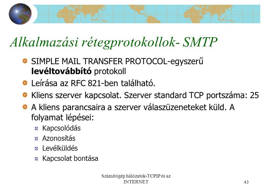 Számítógép hálózatok-TCPIP és az INTERNET43 Alkalmazási rétegprotokollok- SMTP SIMPLE MAIL TRANSFER PROTOCOL-egyszerű levéltovábbító protokoll Leírása az RFC 821-ben található.
