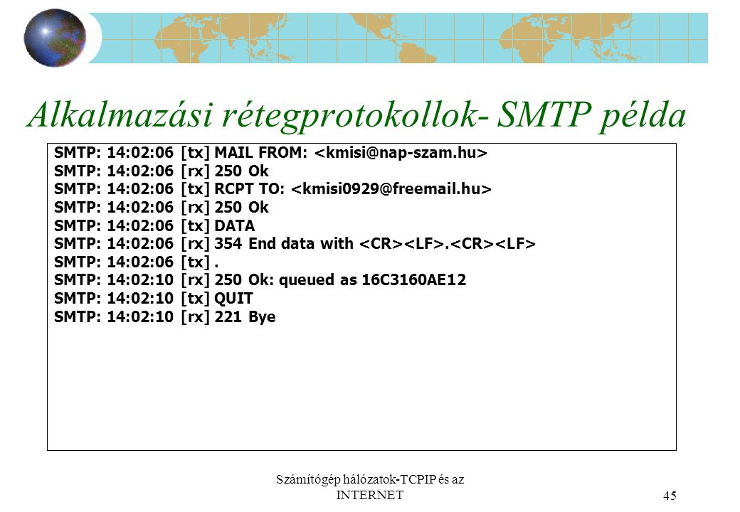 Számítógép hálózatok-TCPIP és az INTERNET45 Alkalmazási rétegprotokollok- SMTP példa SMTP: 14:02:06 [tx] MAIL FROM: SMTP: 14:02:06 [rx] 250 Ok SMTP: 14:02:06 [tx] RCPT TO: SMTP: 14:02:06 [rx] 250 Ok SMTP: 14:02:06 [tx] DATA SMTP: 14:02:06 [rx] 354 End data with.