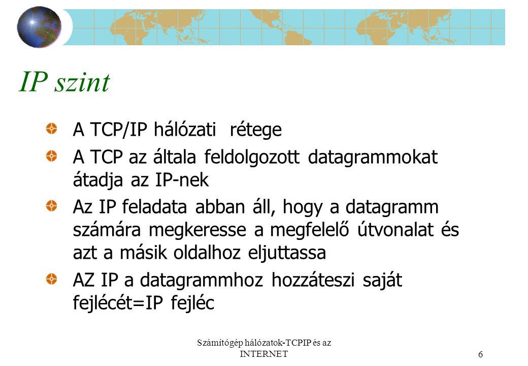 Számítógép hálózatok-TCPIP és az INTERNET6 IP szint A TCP/IP hálózati rétege A TCP az általa feldolgozott datagrammokat átadja az IP-nek Az IP feladata abban áll, hogy a datagramm számára megkeresse a megfelelő útvonalat és azt a másik oldalhoz eljuttassa AZ IP a datagrammhoz hozzáteszi saját fejlécét=IP fejléc