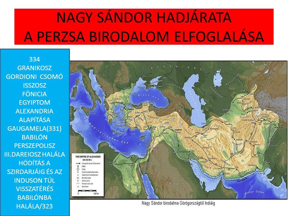 NAGY SÁNDOR HADJÁRATA A PERZSA BIRODALOM ELFOGLALÁSA 334 GRANIKOSZ GORDIONI CSOMÓ ISSZOSZ FÖNICIA EGYIPTOM ALEXANDRIA ALAPÍTÁSA GAUGAMELA(331) BABILÓN