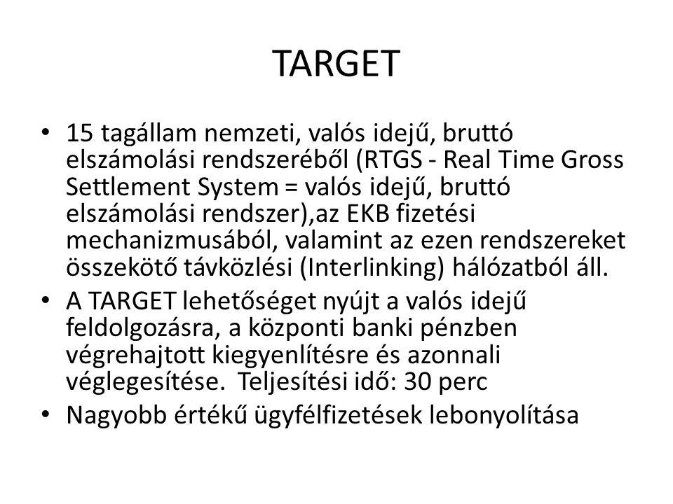 TARGET 15 tagállam nemzeti, valós idejű, bruttó elszámolási rendszeréből (RTGS - Real Time Gross Settlement System = valós idejű, bruttó elszámolási r