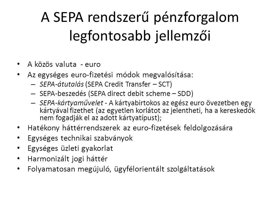 A SEPA rendszerű pénzforgalom legfontosabb jellemzői A közös valuta - euro Az egységes euro-fizetési módok megvalósítása: – SEPA-átutalás (SEPA Credit