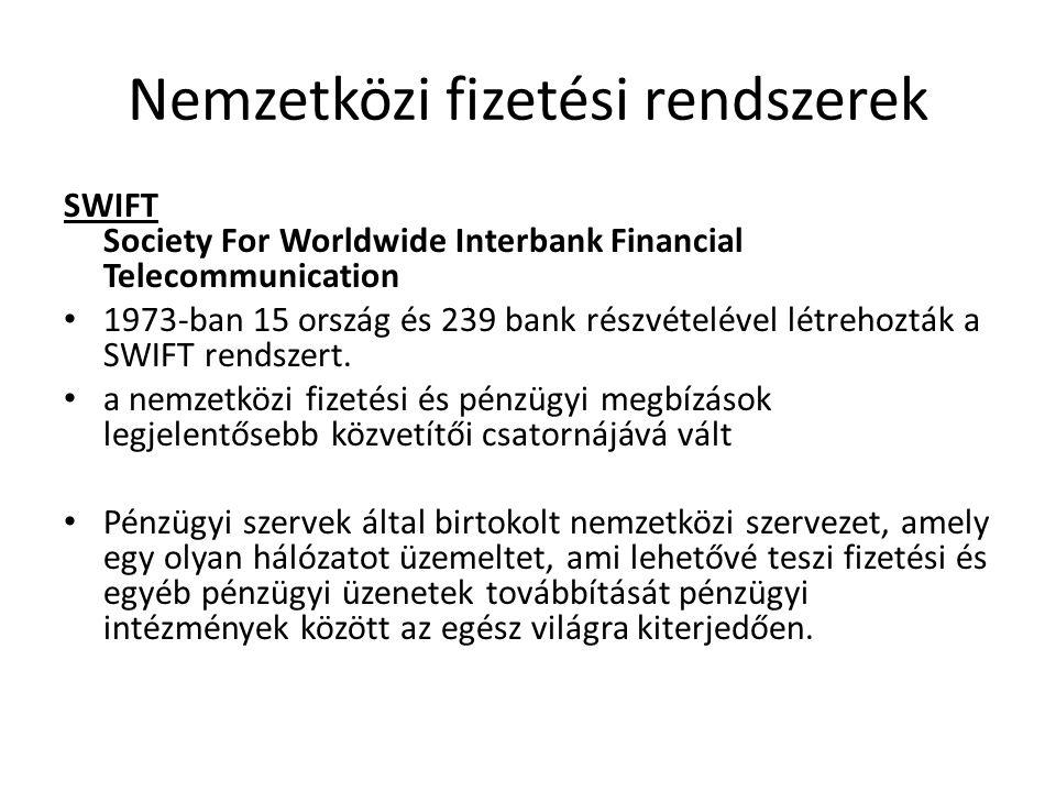 Nemzetközi fizetési rendszerek SWIFT Society For Worldwide Interbank Financial Telecommunication 1973-ban 15 ország és 239 bank részvételével létrehoz