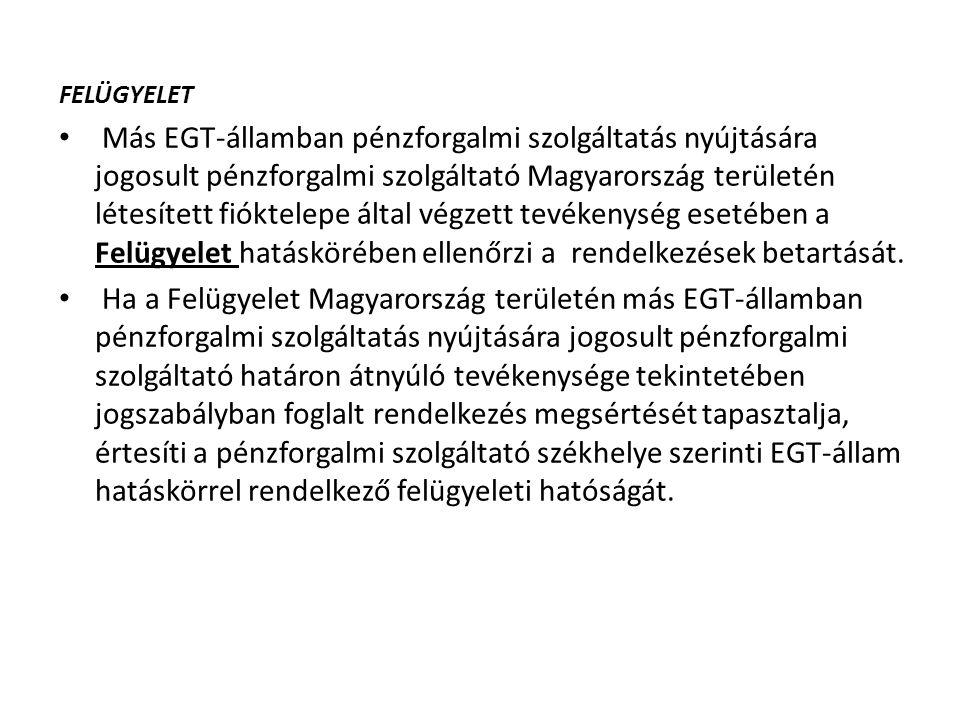 FELÜGYELET Más EGT-államban pénzforgalmi szolgáltatás nyújtására jogosult pénzforgalmi szolgáltató Magyarország területén létesített fióktelepe által