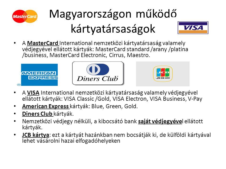 Magyarországon működő kártyatársaságok A MasterCard International nemzetközi kártyatársaság valamely védjegyével ellátott kártyák: MasterCard standard