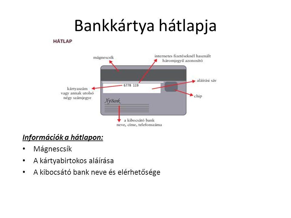 Bankkártya hátlapja Információk a hátlapon: Mágnescsík A kártyabirtokos aláírása A kibocsátó bank neve és elérhetősége