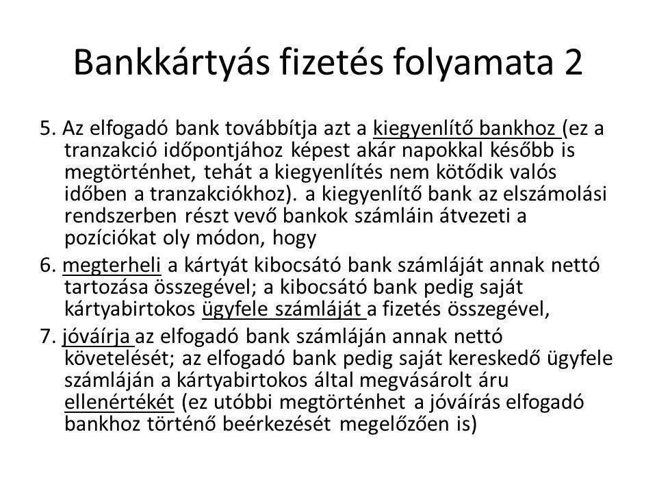 Bankkártyás fizetés folyamata 2 5. Az elfogadó bank továbbítja azt a kiegyenlítő bankhoz (ez a tranzakció időpontjához képest akár napokkal később is