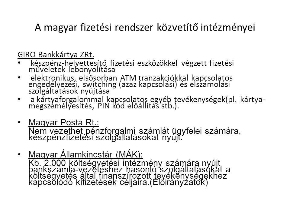 A magyar fizetési rendszer közvetítő intézményei GIRO Bankkártya ZRt. készpénz-helyettesítő fizetési eszközökkel végzett fizetési műveletek lebonyolít
