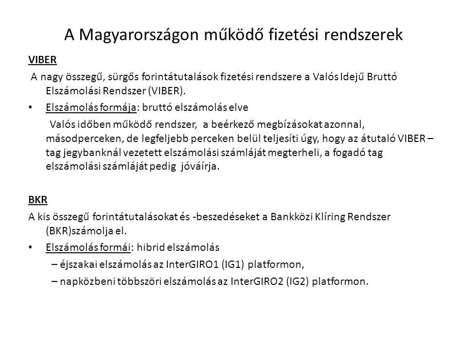 A Magyarországon működő fizetési rendszerek VIBER A nagy összegű, sürgős forintátutalások fizetési rendszere a Valós Idejű Bruttó Elszámolási Rendszer