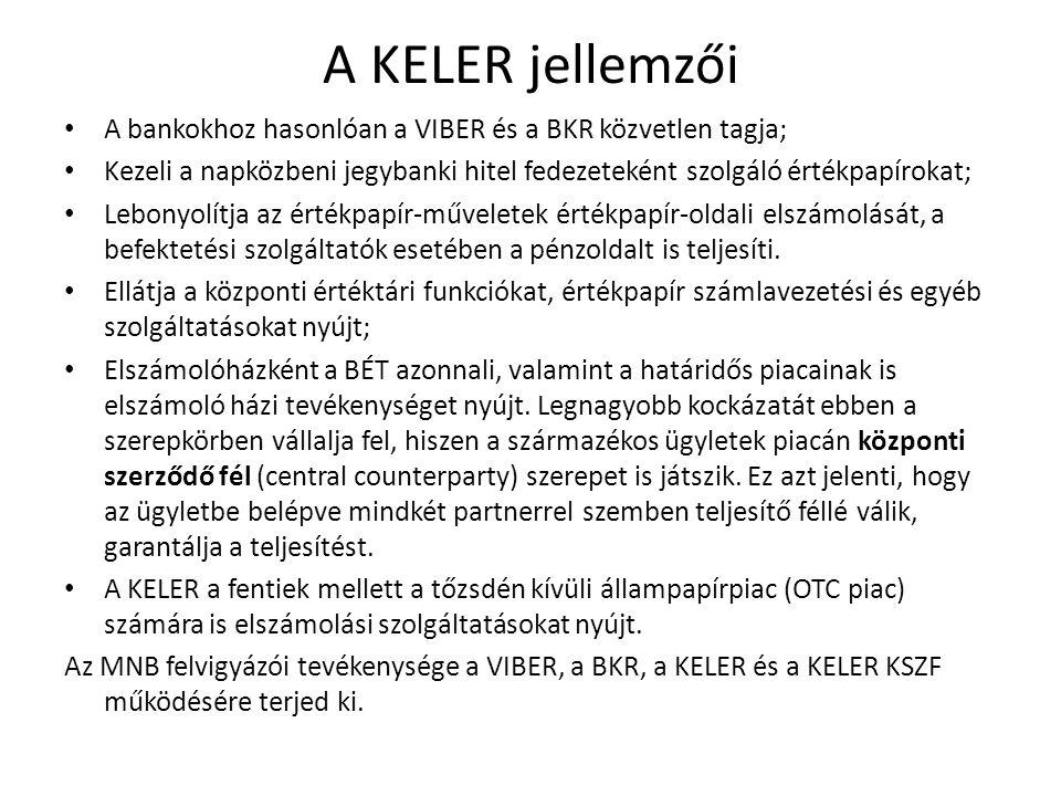 A KELER jellemzői A bankokhoz hasonlóan a VIBER és a BKR közvetlen tagja; Kezeli a napközbeni jegybanki hitel fedezeteként szolgáló értékpapírokat; Le
