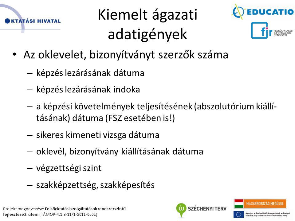 Projekt megnevezése: Felsőoktatási szolgáltatások rendszerszintű fejlesztése 2. ütem (TÁMOP-4.1.3-11/1-2011-0001) Kiemelt ágazati adatigények Az oklev