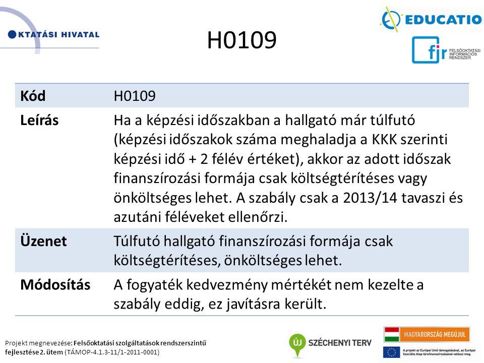 Projekt megnevezése: Felsőoktatási szolgáltatások rendszerszintű fejlesztése 2. ütem (TÁMOP-4.1.3-11/1-2011-0001) H0109 KódH0109 LeírásHa a képzési id