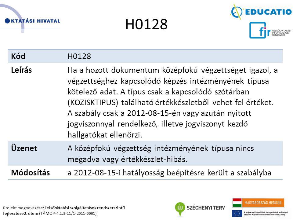 Projekt megnevezése: Felsőoktatási szolgáltatások rendszerszintű fejlesztése 2. ütem (TÁMOP-4.1.3-11/1-2011-0001) H0128 KódH0128 LeírásHa a hozott dok