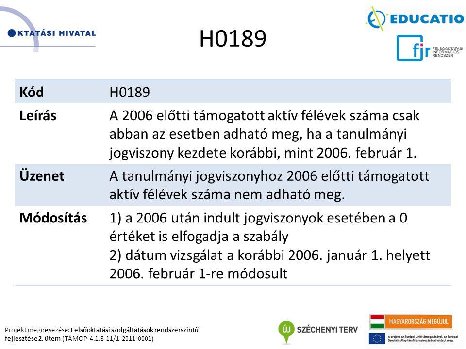 Projekt megnevezése: Felsőoktatási szolgáltatások rendszerszintű fejlesztése 2. ütem (TÁMOP-4.1.3-11/1-2011-0001) H0189 KódH0189 LeírásA 2006 előtti t