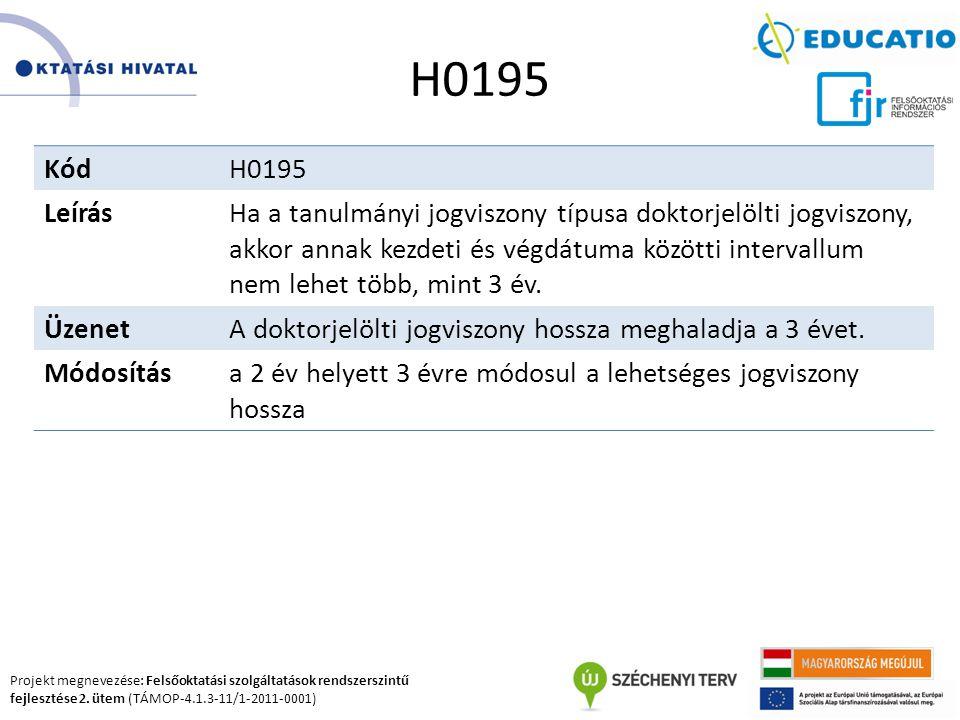 Projekt megnevezése: Felsőoktatási szolgáltatások rendszerszintű fejlesztése 2. ütem (TÁMOP-4.1.3-11/1-2011-0001) H0195 KódH0195 LeírásHa a tanulmányi