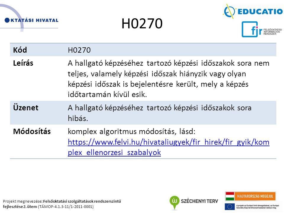 Projekt megnevezése: Felsőoktatási szolgáltatások rendszerszintű fejlesztése 2. ütem (TÁMOP-4.1.3-11/1-2011-0001) H0270 KódH0270 LeírásA hallgató képz