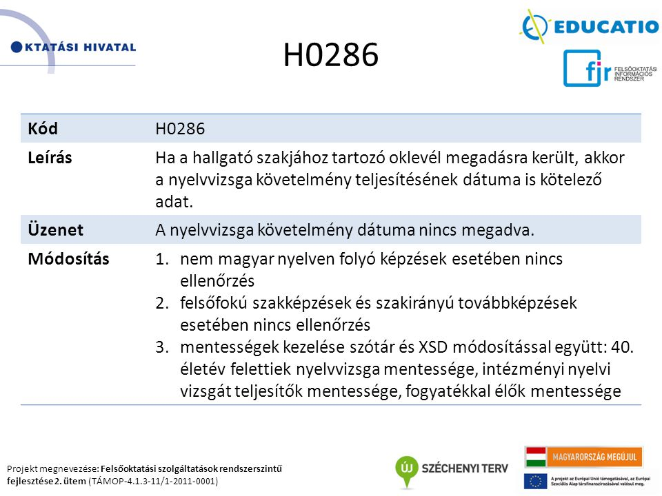 Projekt megnevezése: Felsőoktatási szolgáltatások rendszerszintű fejlesztése 2. ütem (TÁMOP-4.1.3-11/1-2011-0001) H0286 KódH0286 LeírásHa a hallgató s